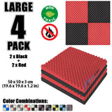 New 4 Pcs Black and Red Bundle Egg Crate Convoluted Acoustic Tile Panels Sound Absorption Studio Soundproof Foam KK1052