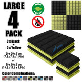 New 4 pcs Black and Yellow Bundle Hemisphere Grid Type Acoustic Panels Sound Absorption Studio Soundproof Foam KK1040