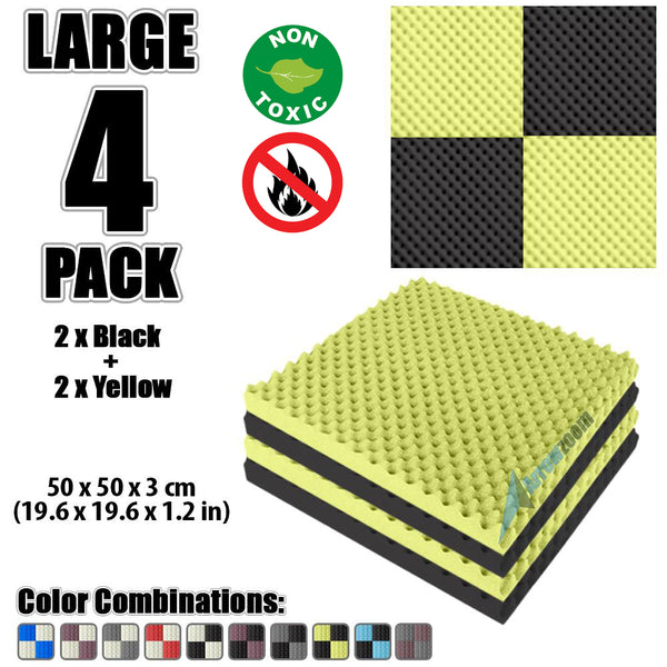 New 4 Pcs Black and Yellow Bundle Egg Crate Convoluted Acoustic Tile Panels Sound Absorption Studio Soundproof Foam KK1052
