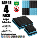 New 4 Pcs Black & Baby Blue Bundle Pyramid Tiles Acoustic Panels Sound Absorption Studio Soundproof Foam KK1034