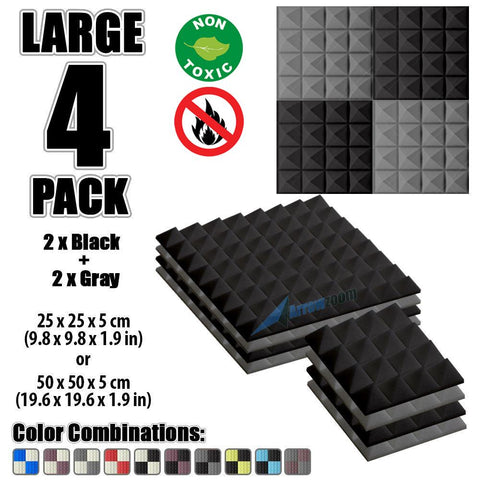 New 4 Pcs Black & Gray Bundle Pyramid Tiles Acoustic Panels Sound Absorption Studio Soundproof Foam KK1034
