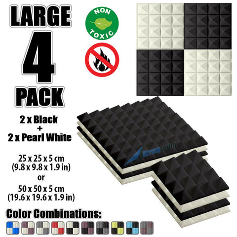 New 4 Pcs Black & Pearl White Bundle Pyramid Tiles Acoustic Panels Sound Absorption Studio Soundproof Foam KK1034