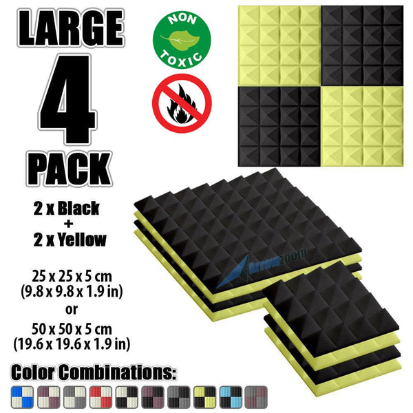 New 4 Pcs Black & Yellow Bundle Pyramid Tiles Acoustic Panels Sound Absorption Studio Soundproof Foam KK1034