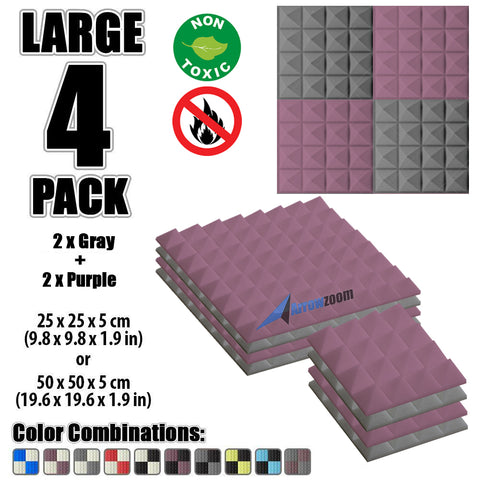 New 4 Pcs Gray & Purple Bundle Pyramid Tiles Acoustic Panels Sound Absorption Studio Soundproof Foam KK1034