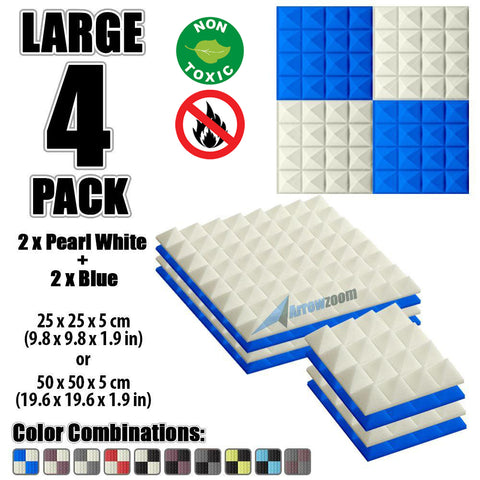 New 4 Pcs Pearl White & Blue Bundle Pyramid Tiles Acoustic Panels Sound Absorption Studio Soundproof Foam KK1034
