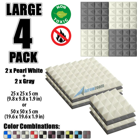 New 4 Pcs Pearl White & Gray Bundle Pyramid Tiles Acoustic Panels Sound Absorption Studio Soundproof Foam KK1034