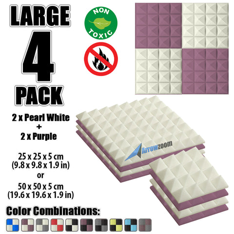 New 4 Pcs Pearl White & Purple Bundle Pyramid Tiles Acoustic Panels Sound Absorption Studio Soundproof Foam KK1034
