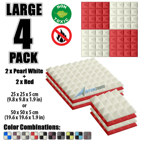New 4 Pcs Pearl White & Red Bundle Pyramid Tiles Acoustic Panels Sound Absorption Studio Soundproof Foam KK1034