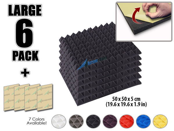 New 6 pcs Bundle Pyramid Adhesive Backed Tiles Acoustic Panels Sound Absorption Studio Soundproof Foam 7 Colors KK1053