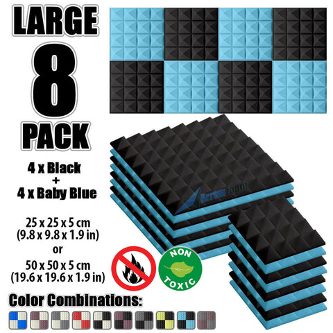 New 8 Pcs Black & Baby Blue Bundle Pyramid Tiles Acoustic Panels Sound Absorption Studio Soundproof Foam KK1034