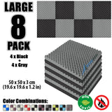 New 8 Pcs Black and Gray Bundle Egg Crate Convoluted Acoustic Tile Panels Sound Absorption Studio Soundproof Foam KK1052