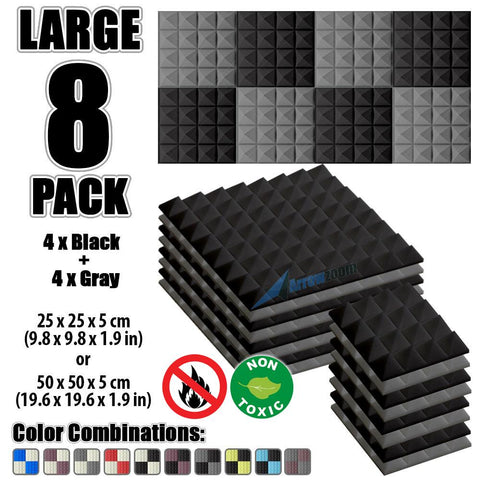 New 8 Pcs Black & Gray Bundle Pyramid Tiles Acoustic Panels Sound Absorption Studio Soundproof Foam KK1034