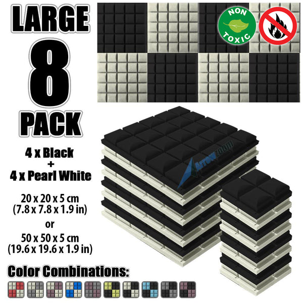 New 8 pcs Black and Pearl White Bundle Hemisphere Grid Type Acoustic Panels Sound Absorption Studio Soundproof Foam KK1040
