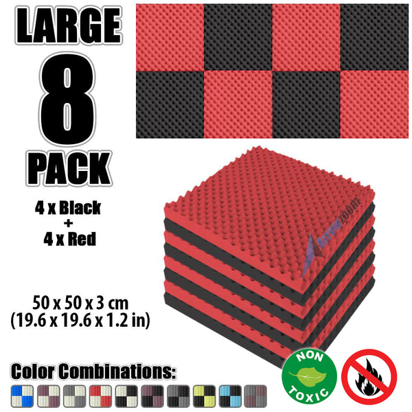New 8 Pcs Black and Red Bundle Egg Crate Convoluted Acoustic Tile Panels Sound Absorption Studio Soundproof Foam KK1052