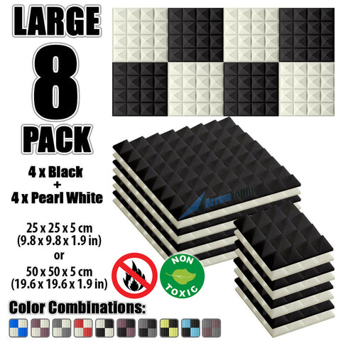 New 8 Pcs Black & Pearl White Bundle Pyramid Tiles Acoustic Panels Sound Absorption Studio Soundproof Foam KK1034