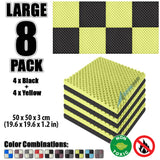 New 8 Pcs Black and Yellow Bundle Egg Crate Convoluted Acoustic Tile Panels Sound Absorption Studio Soundproof Foam KK1052