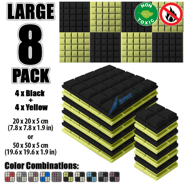 New 8 pcs Black and Yellow Bundle Hemisphere Grid Type Acoustic Panels Sound Absorption Studio Soundproof Foam KK1040