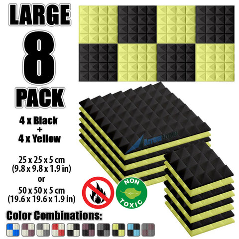 New 8 Pcs Black & Yellow Bundle Pyramid Tiles Acoustic Panels Sound Absorption Studio Soundproof Foam KK1034