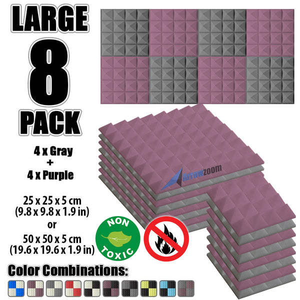 New 8 Pcs Gray & Purple Bundle Pyramid Tiles Acoustic Panels Sound Absorption Studio Soundproof Foam KK1034