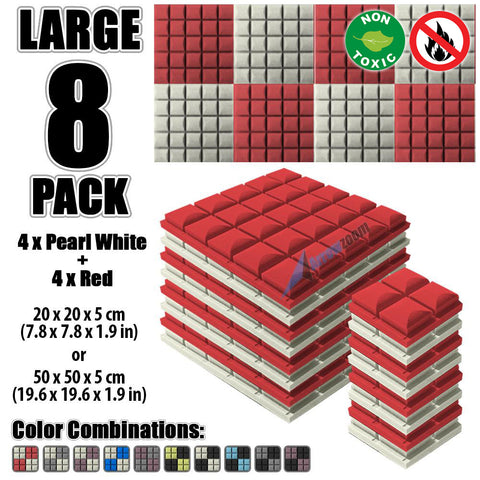 New 8 pcs Pearl White and Red Bundle Hemisphere Grid Type Acoustic Panels Sound Absorption Studio Soundproof Foam KK1040
