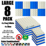 New 8 Pcs Pearl White & Blue Bundle Pyramid Tiles Acoustic Panels Sound Absorption Studio Soundproof Foam KK1034
