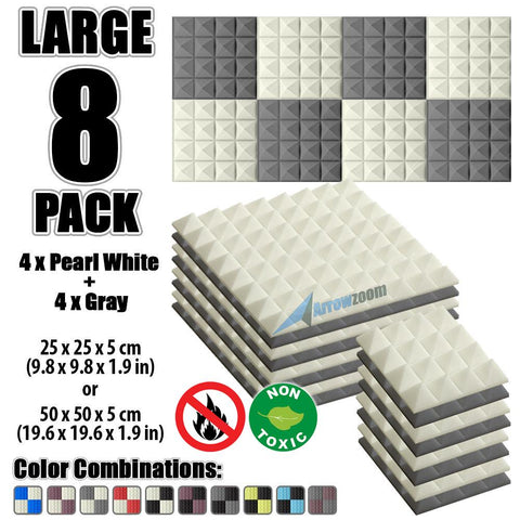 New 8 Pcs Pearl White & Gray Bundle Pyramid Tiles Acoustic Panels Sound Absorption Studio Soundproof Foam KK1034
