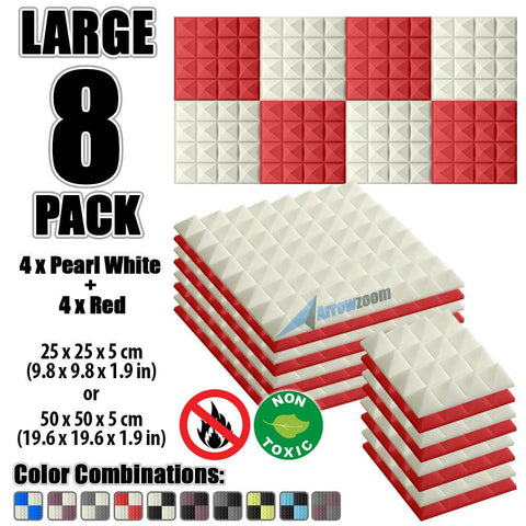 New 8 Pcs Pearl White & Red Bundle Pyramid Tiles Acoustic Panels Sound Absorption Studio Soundproof Foam KK1034