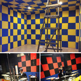 New 24 pcs Yellow and Baby Blue Bundle Bevel Grid Type Acoustic Panels Sound Absorption Studio Soundproof Foam KK1046