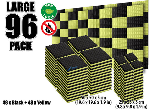 New 96 pcs Black and Yellow Bundle Pyramid Tiles Acoustic Panels Sound Absorption Studio Soundproof Foam KK1034