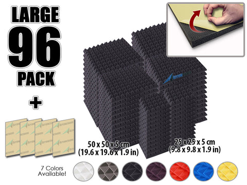 New 96 pcs Bundle Pyramid Adhesive Backed Tiles Acoustic Panels Sound Absorption Studio Soundproof Foam 7 Colors KK1053