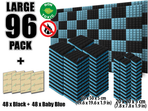 New 96 pcs Black and Baby Blue Bundle Hemisphere Grid Type Acoustic Panels Sound Absorption Studio Soundproof Foam KK1040