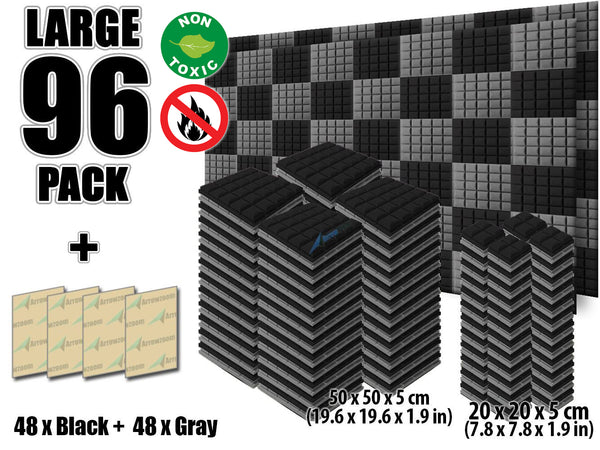 New 96 pcs Black and Gray Bundle Hemisphere Grid Type Acoustic Panels Sound Absorption Studio Soundproof Foam KK1040