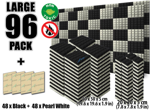 New 96 pcs Black and Pearl White Bundle Hemisphere Grid Type Acoustic Panels Sound Absorption Studio Soundproof Foam KK1040