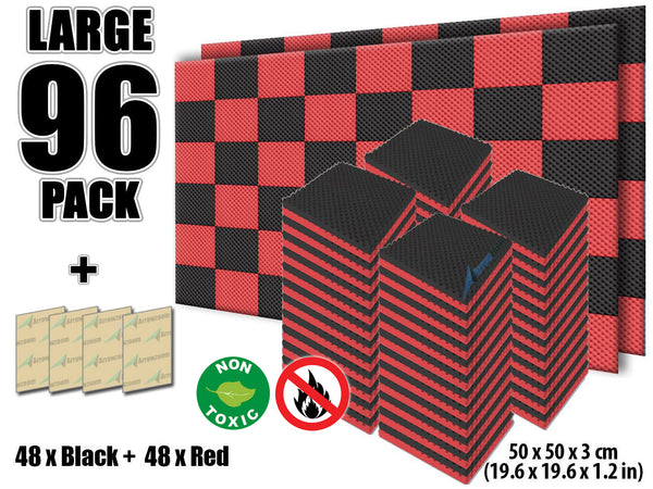 New 96 Pcs Black and Red Bundle Egg Crate Convoluted Acoustic Tile Panels Sound Absorption Studio Soundproof Foam KK1052