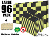 New 96 Pcs Black and Yellow Bundle Egg Crate Convoluted Acoustic Tile Panels Sound Absorption Studio Soundproof Foam KK1052