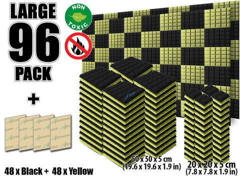 New 96 pcs Black and Yellow Bundle Hemisphere Grid Type Acoustic Panels Sound Absorption Studio Soundproof Foam KK1040