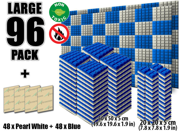 New 96 pcs Pearl White and Blue Bundle Hemisphere Grid Type Acoustic Panels Sound Absorption Studio Soundproof Foam KK1040