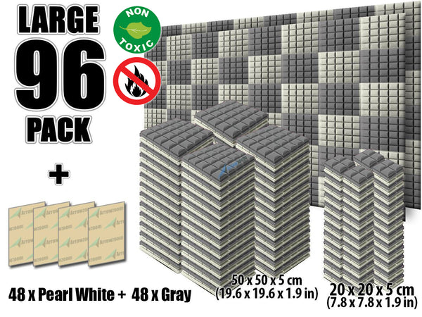 New 96 pcs Pearl White and Gray Bundle Hemisphere Grid Type Acoustic Panels Sound Absorption Studio Soundproof Foam KK1040