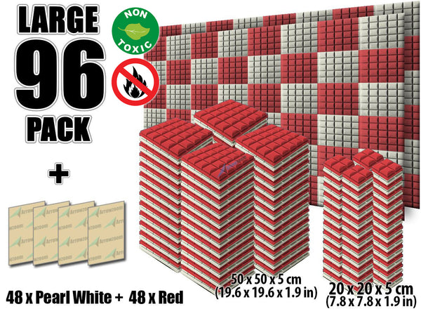 New 96 pcs Pearl White and Red Bundle Hemisphere Grid Type Acoustic Panels Sound Absorption Studio Soundproof Foam KK1040
