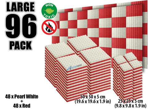 New 96 pcs Pearl White and Red Bundle Pyramid Tiles Acoustic Panels Sound Absorption Studio Soundproof Foam KK1034