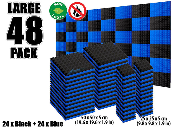 New 48 pcs Black and Blue Bundle Pyramid Tiles Acoustic Panels Sound Absorption Studio Soundproof Foam KK1034
