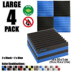 New 4 pcs Black and Blue Wedge Tiles Acoustic Panels Sound Absorption Studio Soundproof Foam KK1134