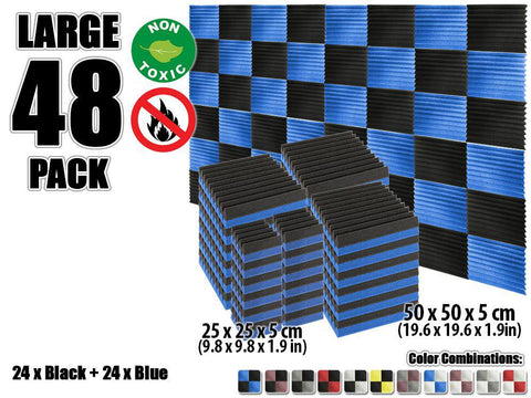New 48 pcs Black and Blue Wedge Tiles Acoustic Panels Sound Absorption Studio Soundproof Foam KK1134