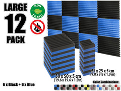 New 12 pcs Black and Blue Wedge Tiles Acoustic Panels Sound Absorption Studio Soundproof Foam KK1134