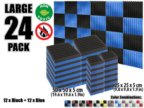 New 24 pcs Black and Blue Wedge Tiles Acoustic Panels Sound Absorption Studio Soundproof Foam KK1134