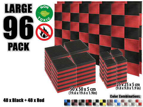 New 96 pcs Black and Red Wedge Tiles Acoustic Panels Sound Absorption Studio Soundproof Foam KK1134
