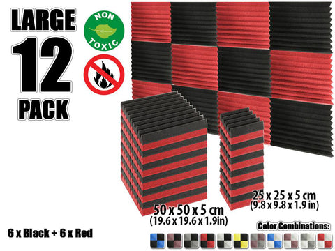 New 12 pcs Black and Red Wedge Tiles Acoustic Panels Sound Absorption Studio Soundproof Foam KK1134