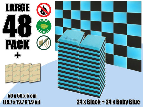 New 48 pcs Black & Baby Blue Bundle Flat Bevel Tile Acoustic Panels Sound Absorption Studio Soundproof Foam KK1039