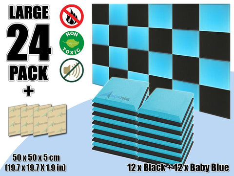 New 24 pcs Black & Baby Blue Bundle Flat Bevel Tile Acoustic Panels Sound Absorption Studio Soundproof Foam KK1039
