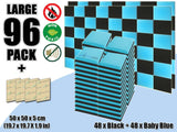 New 96 pcs Black & Baby Blue Bundle Flat Bevel Tile Acoustic Panels Sound Absorption Studio Soundproof Foam KK1039